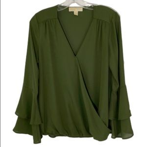 Michael Kors olive green mock wrap top  blouse